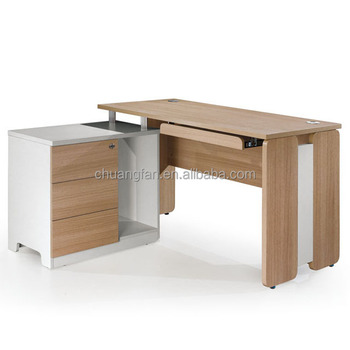 CF office home modern corner table design computer desk with 3 drawers  fixed pedestal, View computer table design, Chuangfan Product Details from  ...
