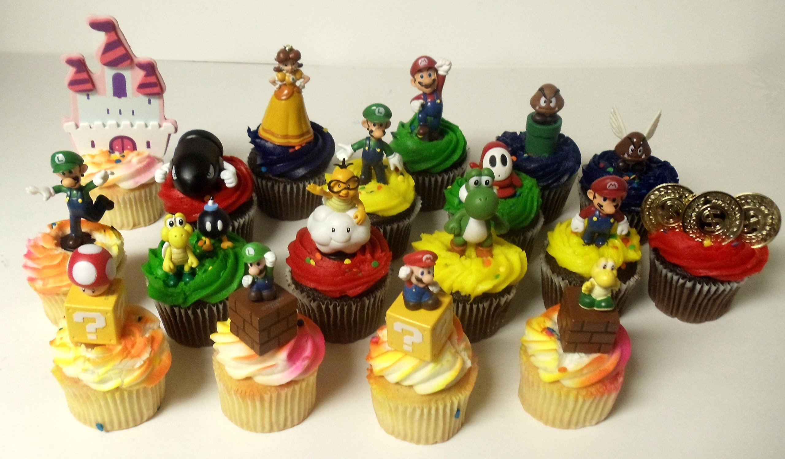 """Super Mario Brothers 18 Piece Deluxe Birthday Cupcake Topper Set Featuring Shy, Mario, Goomba, Yoshi, Bomb, Luigi, Koopa Troopa, Mushroom, Princess Daisy, Lakitu Spiny and Themed Decorative Accessories - Cupcake Toppers Range from 1"""" to 4"""" Tall by Nintendo"""