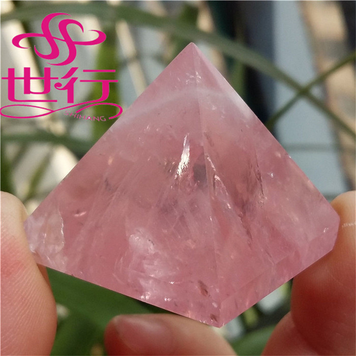 Natural rose crystal powder quartz crystal pyramid point healing