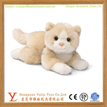 Realistic Plush Stuffed Animated Animal Toys Cute Fluffy Cat For