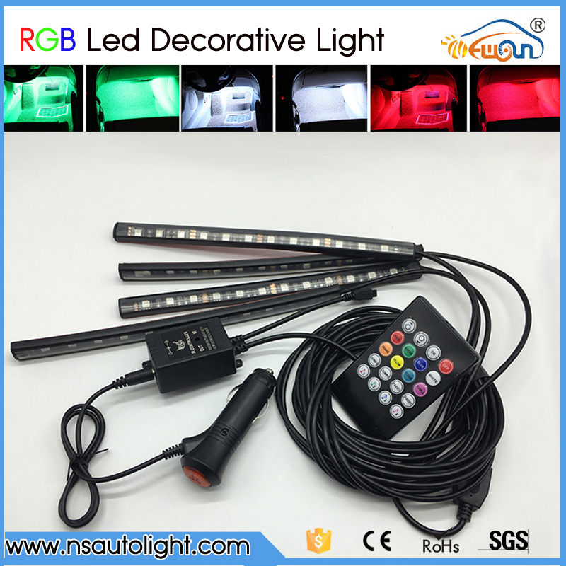One with 4 pcs 7Colors RGB Led Car Atmosphere Lights Decoration Lamp 12v Auto Car Led Interior Lights Glow Decorative Lamp Bulb