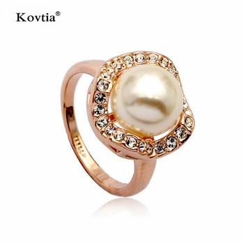 f5185edddcf0 Las mujeres de diseño vintage perlas cultivadas joyas de oro chapado en oro  anillo