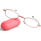 Women Eye Glasses Red Style folding Reading Glasses with Mirror Case