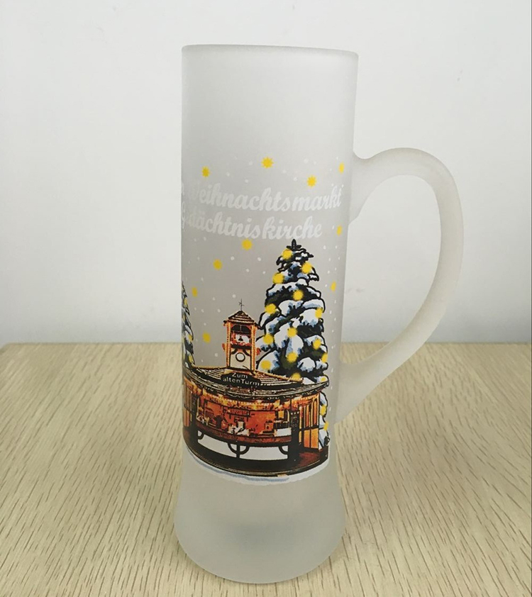 New design, frosted glass beer mug , Haonai 211169