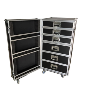 Flight case with pull out drawers for light and sound