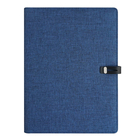 2019 a4 size PU leather blue portfolio cocument case file folder with phone holder