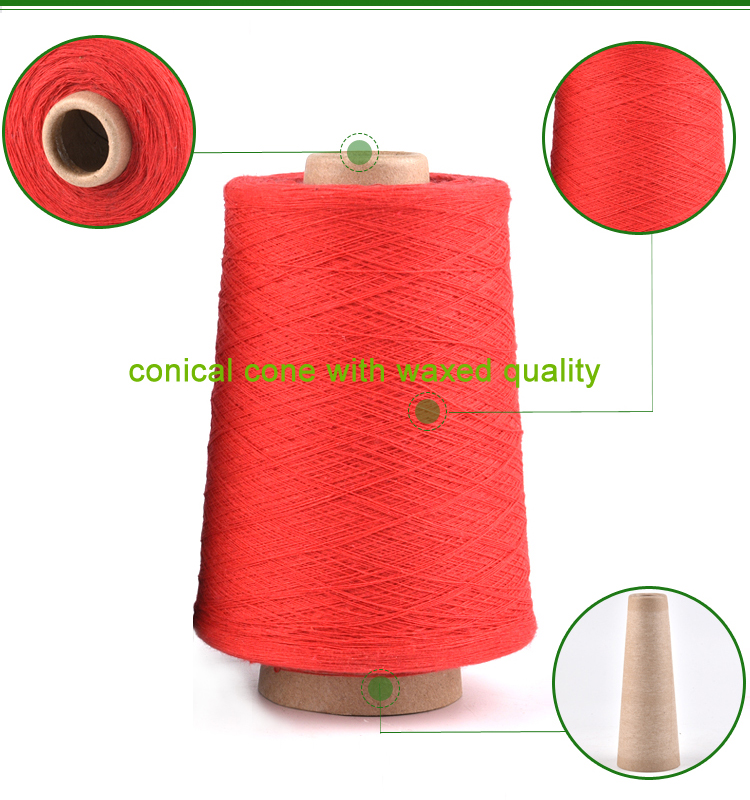 Quality guaranteed red recycled cotton blended yarn 8S cotton dish towel yarn
