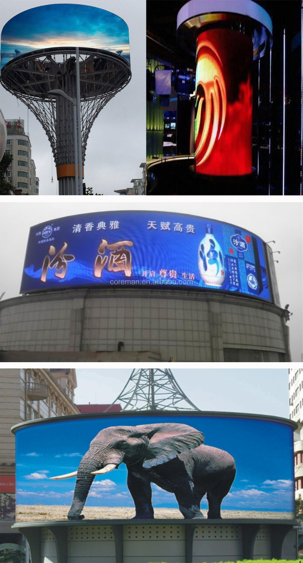 Curve Advertising Smd P3 P4 P5 P6 Led Arc Screen Display / Led ...