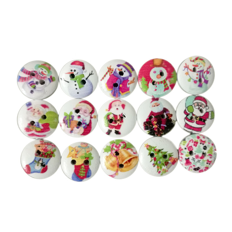 Cooperative 50pcs Christmas Holiday Wooden Collection Snowflakes Buttons Snowflakes Embellishments 18mm Creative Decoration Pretty And Colorful Apparel Sewing & Fabric Home & Garden