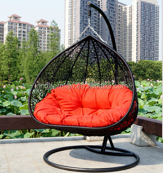 Modern Patio Outdoor Swing Chairs Rattan Hammock Chair Double Egg