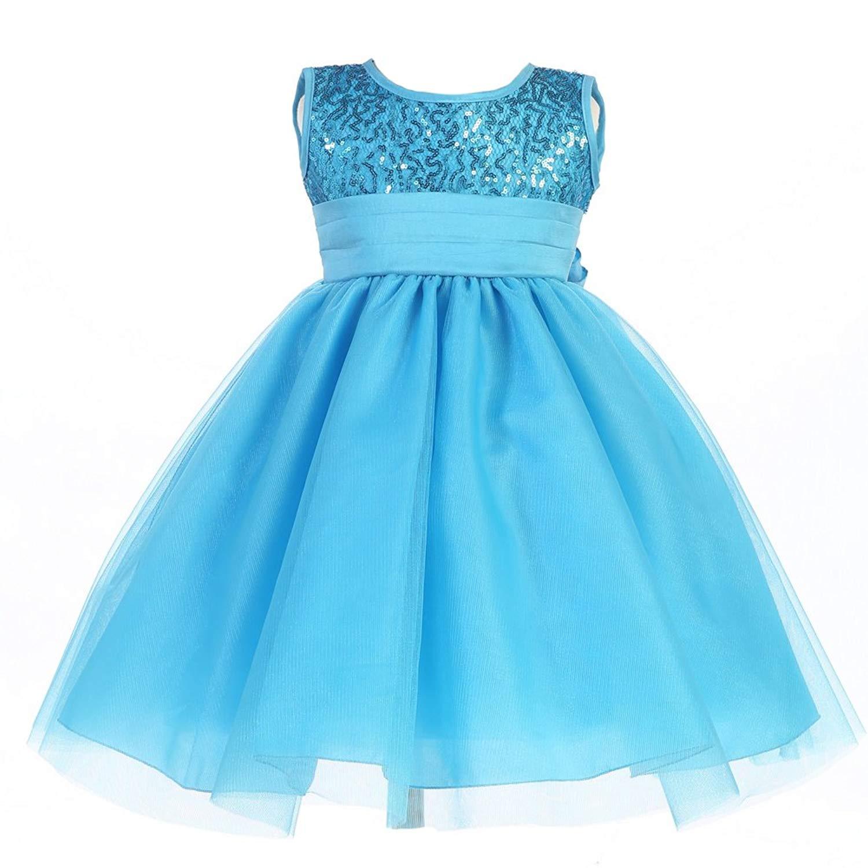 86c21705ca14 Get Quotations · Lito Little Girls Aqua Sequin Bodice Tulle Flower Girl  Easter Dress 2T-6