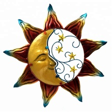 Sun Solar Light Garden Metal Moon Wall Art Decor
