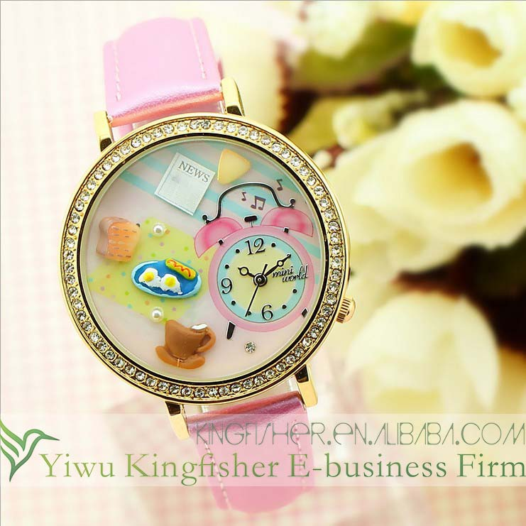 Cartoon polymer clay breakfast time watch face pu leather strap Japan quartz movement trendy women watches