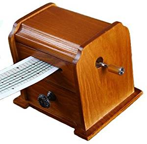 Flyaudio Antique Vintage Wooden Music Box , DIY Make Yr Own Song Include a Punch and 30 Music Papers, 16 Has Musical Note and 14 Are Blank and You Can Create Your Own Song!