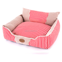 2016 red strip cotton fabric dog sofa ,syede large dog bed ,cozy luxury pet bed
