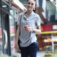 2016 alibaba express short sleeve top satin silk blouses for women