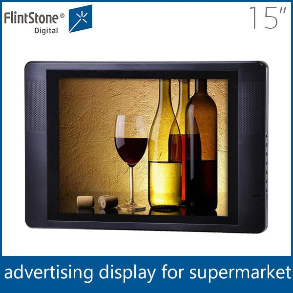 "Flintstone 15"" flat screen monitor lcd commercial tv for sale 15"" lcd hd digital advertising screens for sale"