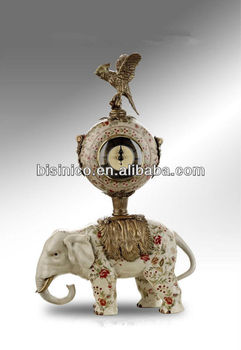 Antique Hand Painted Porcelain Table Clock In The Middle Of Brass Eagle U0026  Elephant,Porcelain
