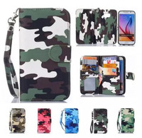 Cheap camouflage custom printed flip wallet mobile leather cover phone case for samsung galaxy s6