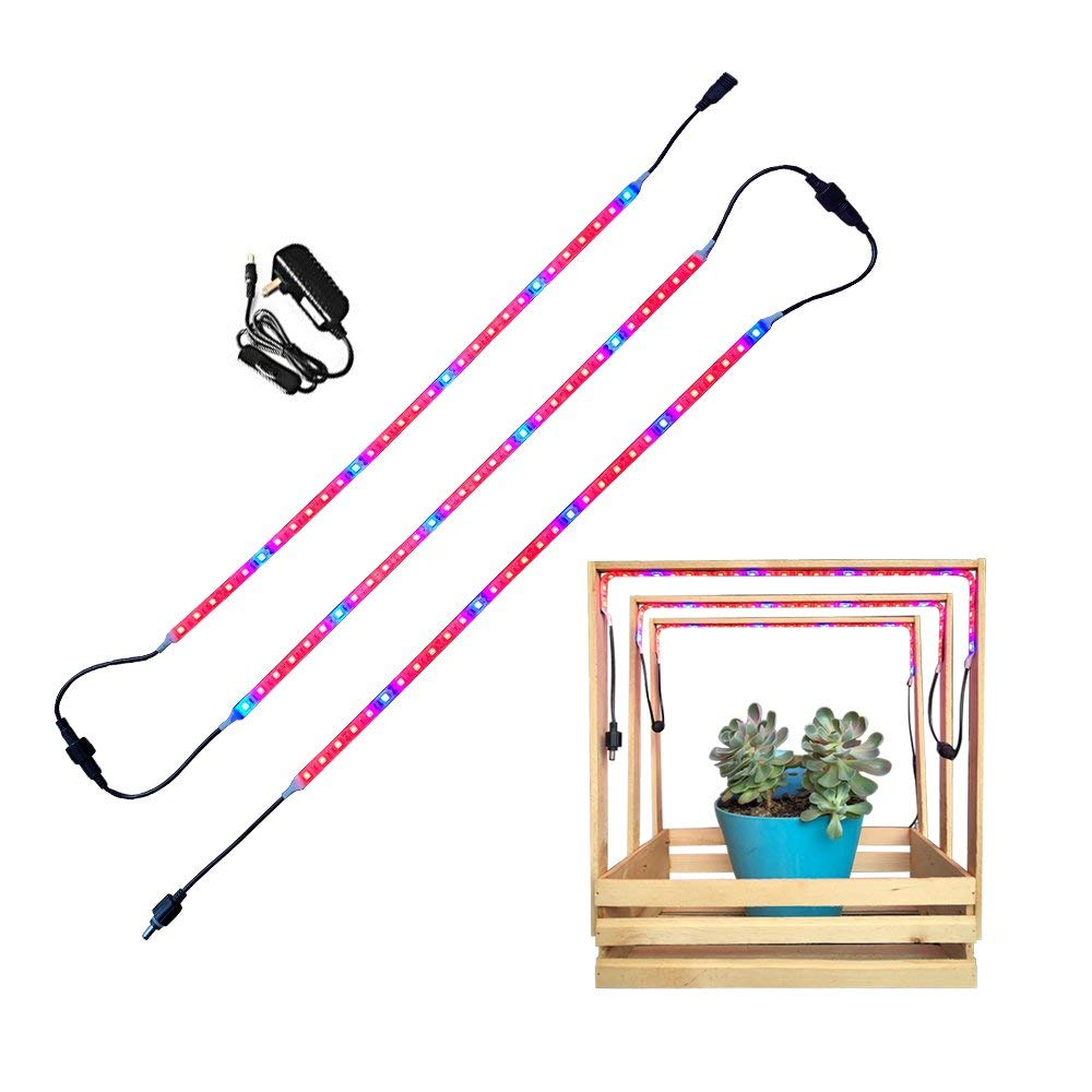 Elite LED Plant Grow Light Strips Set of 3 (1.64 ft Each) IP65 Waterproof, with On/Off Switch Power Adapter, Flexible Soft Plant Grow Bar Light, Perfect for Indoor Plants, Seed Starting, Veg Growing