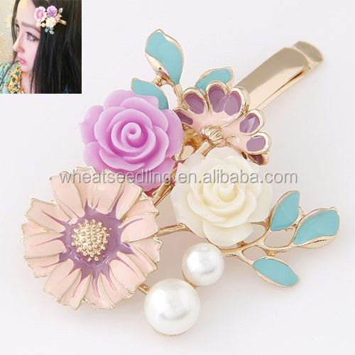 Metallic Palace Texture Bohemian aristocratic rose hair clip hair accessories