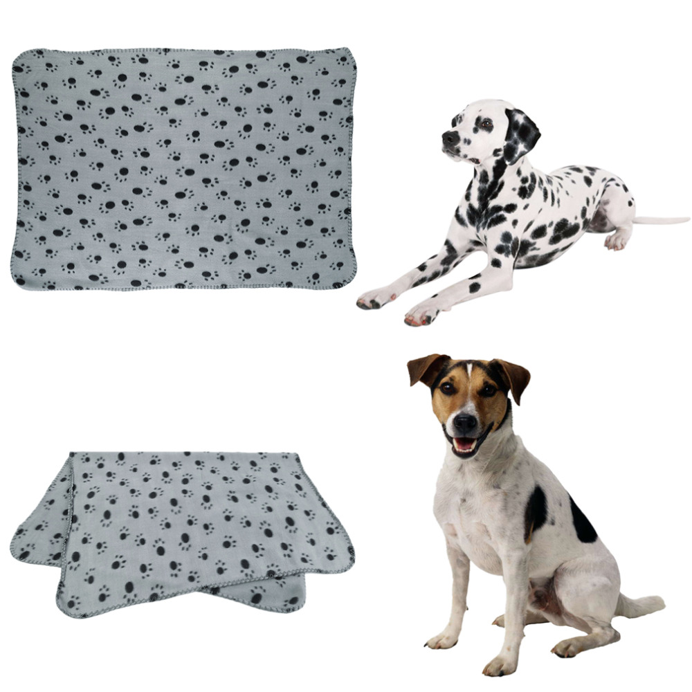 Warm Pet Puppy Dog Cat Small Medium Large Paw Print Pet Cat Dog Fleece Soft Blanket Bed Mat Cover