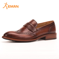 Luxury design genuine leather men dress shoes penny loafers