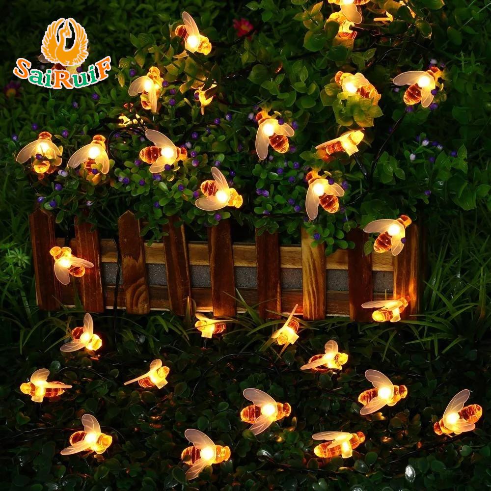 Solar String Lights 30 Led Honey Bee Shaped Fairy Light For Outdoor ...