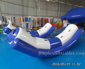 Aquatic sports inflatable totter for floating fun park water toys inflatable seesaw for children
