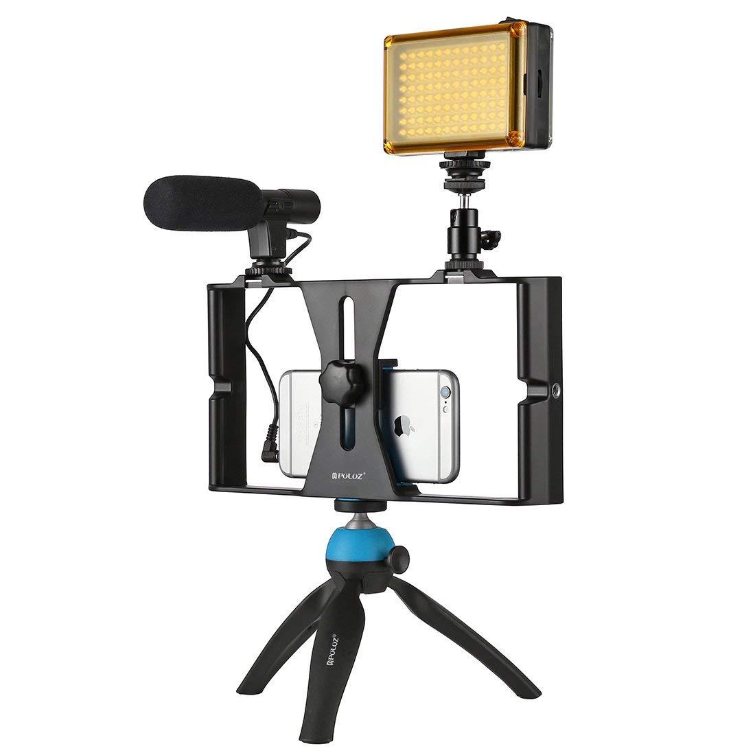 PULUZ PKT3023 Smartphone Video Rig LED Studio Light Video Shotgun Microphone Mini Tripod Mount Kits