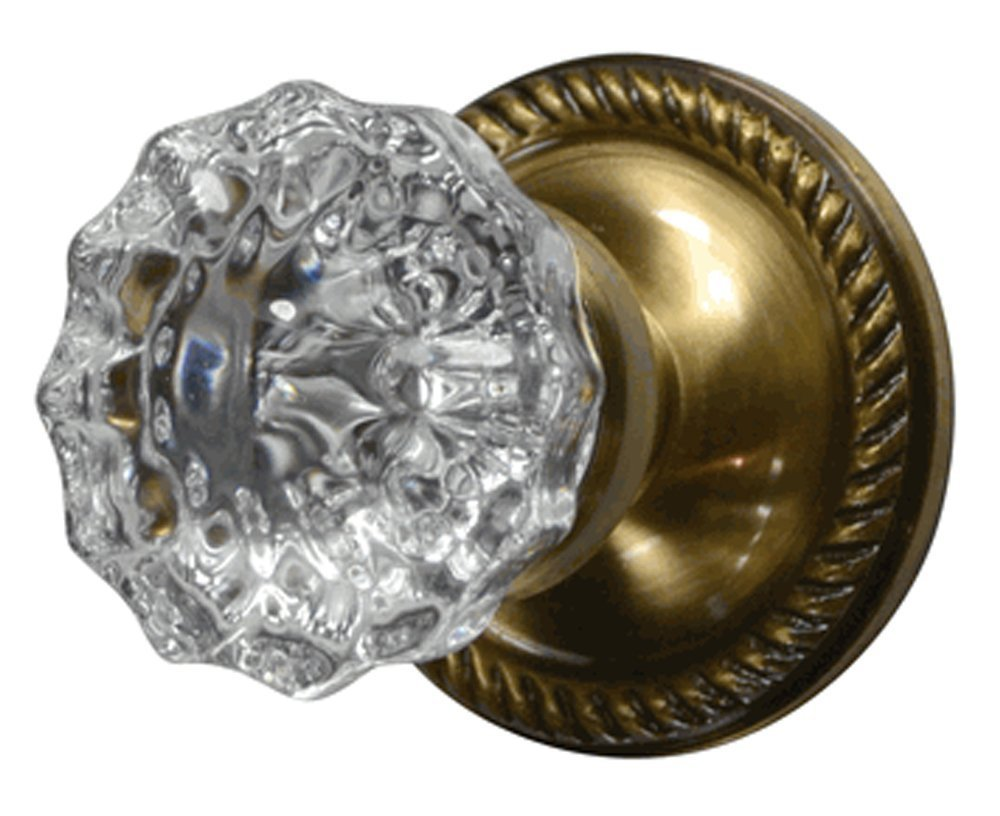 Regency Fluted Glass Door Knob Set with Georgian Roped Rosettes in Antique Brass (Privacy Bed / Bath)