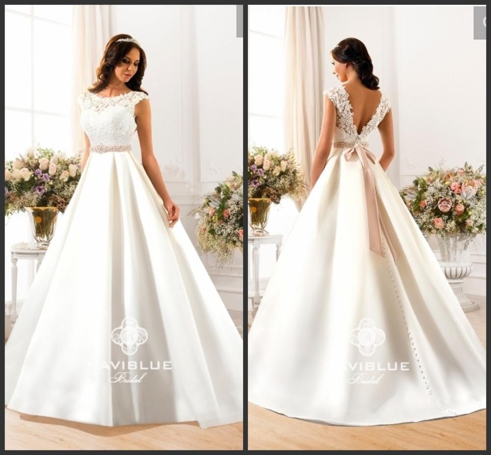 Elegant Silk Wedding Dresses With Sleeves: Elegant High Neck Lace Cap Sleeve Satin Wedding Dress 2015