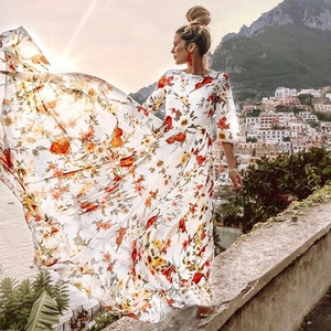 summer dresses 2019 floral print 3/4 sleeves new arrival maxi women dress wholesale