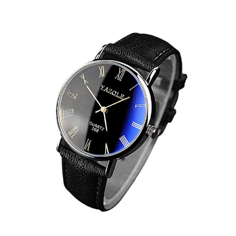 FAPIZI Mens Watch}Clearance✿Luxury/Fashion{Faux Leather}Mens Quartz/Analog Watch Watches Black