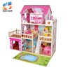 2019 Best sale big children wooden doll house with pool W06A333C