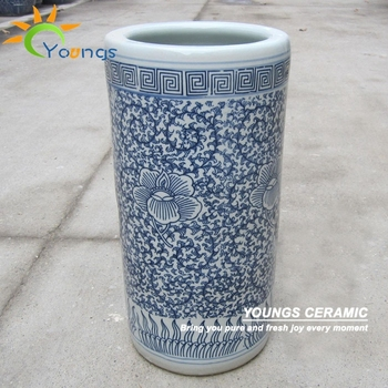 varied chinese blue and white ceramic cylinder umbrella holder vases Ceramic Umbrella Holder