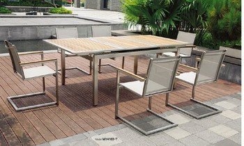 Stainless Steel Outdoor Furniture Teak Wood Table And Mesh Chairs