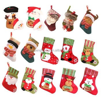 hot sale white and green animal plush christmas stocking wholesale christmas gifts ornament - Wholesale Christmas Gifts