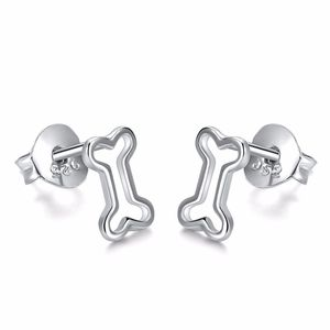 Wholesale Cute 925 Sterling Silver Dog Bone Stud Earrings