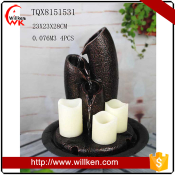 Polyresin tabletop fountain with candle