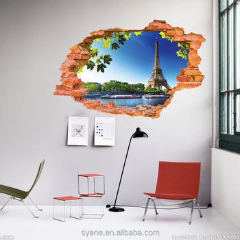 Syene 3d Rhinestone Wanddecoratie 3d Venster Eiffeltoren Muursticker ...