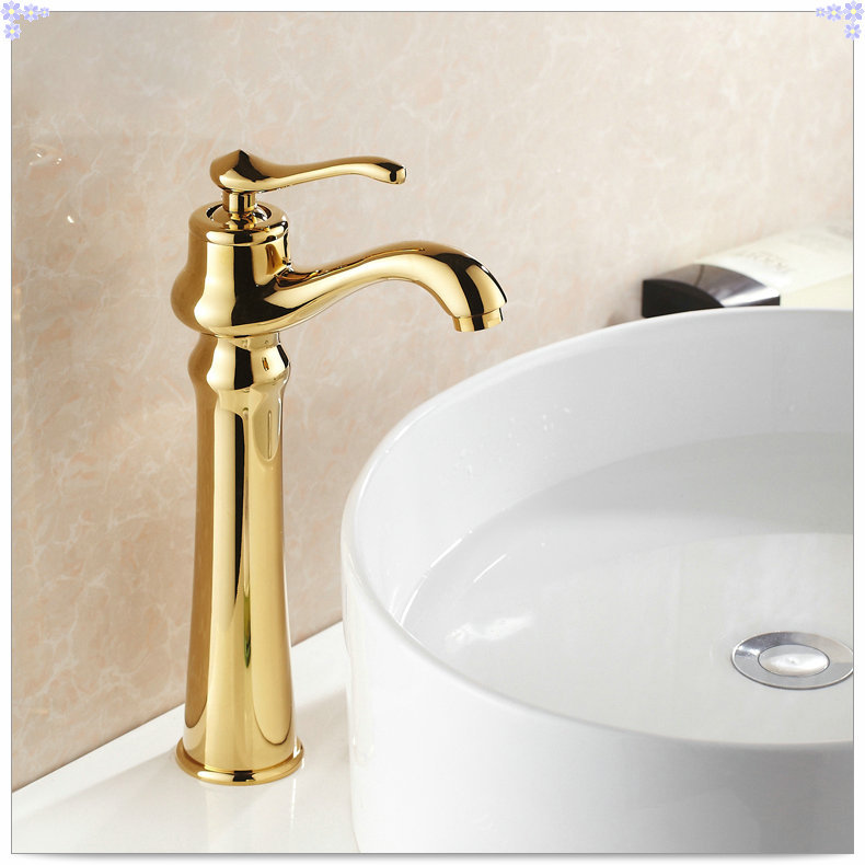 Gold Faucets For Bathroom: Gold Finish Bathroom Countertop Basin Faucet Single Lever