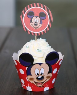2015 Hot Baby Show And Birtyday Wedding Party Decoration Red Mickey Mouse printed paper Cupcake Wrappers Favors Cup Cake Toppers