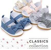 denim baby girl shoes, stripe baby girl shoes