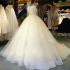 Hotsale in stock ball gown wedding dress Sleeves appliqued lace wholesale bridal dress