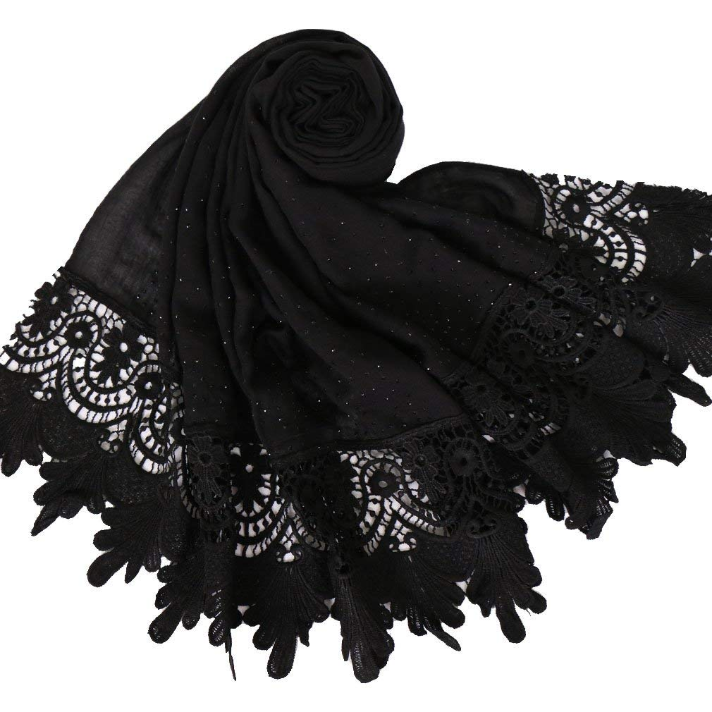 3c0df9a9d827f Get Quotations · LMVERNA Women's lace cotton scarf fashion Solid Lace Long  Shawl Wrap