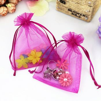 20x30cm Large Christmas Wedding Candy Bags Organza Drawstring Bags Jewelry Packing Hot Pink Gift Organza Bag