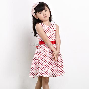 804618fd5 Hot Sale Summer Round Neck Fashion Printing Poka Dots Kids Frocks ...