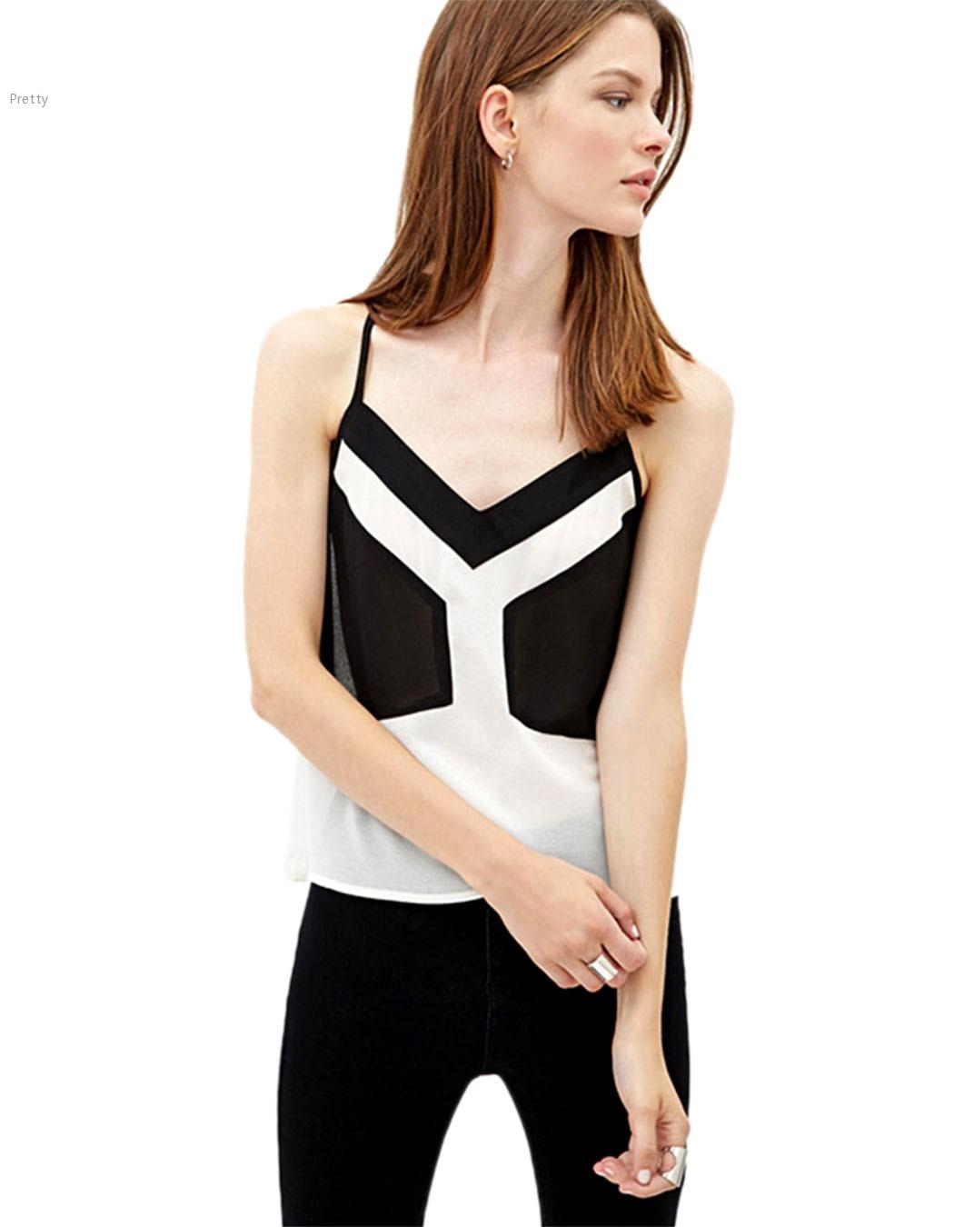 61b0fa7205c25f Get Quotations · 2015 Stylish Lady Women Sleeveless Vest Chiffon Vest Tank  Tops Plus Size Patchwork Backless Strap Tank