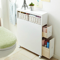 White Color Solid Wood Bathroom Cabinet,bathroom organizer With Wicker Backset